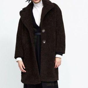 Dark brown long zara coat